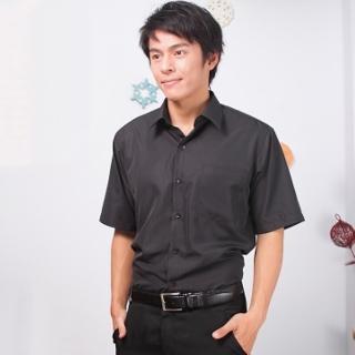 【JIA HUEI】短袖男仕吸濕排汗防皺襯衫 黑色(台灣製造)