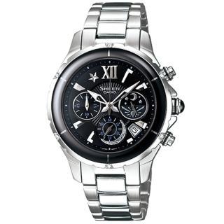 CASIO SHEEN 典雅璀璨日月計時陶瓷錶(黑) SHE-5512SG-1ADF