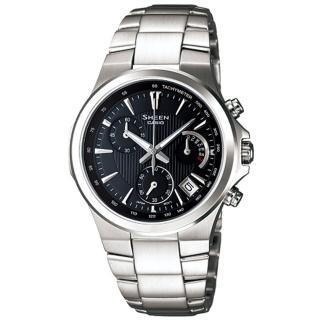 CASIO SHEEN 都會雅緻三眼時尚腕錶(黑) SHE-5019D-1ADR
