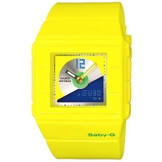 CASIO BABY-G 搖滾唱盤雙顯休閒錶(黃藍) BGA-201-9EDR