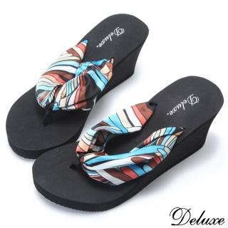 ☆Deluxe☆沙灘甜心~普普風色彩楔型夾腳拖鞋★二色