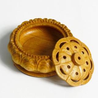 【荒木雕塑藝品】檜木手工雕刻環香爐(小)