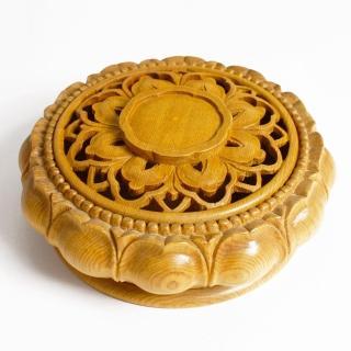 【荒木雕塑藝品】檜木手工雕刻環香爐(大)