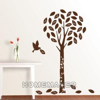 【FIXPIX】精靈樹與鳥絨布-創意造型壁貼(HVS-58608)