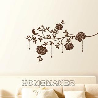 【FIXPIX】優雅鳥與富貴花絨布-創意造型壁貼(HVS-58612)