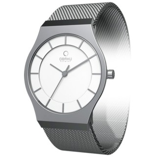 OBAKU 極簡時代優雅時尚腕錶(銀白/小) V123LCIMC