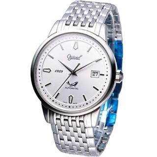 【Ogival 愛其華】簡約時尚機械錶(1929-24AGS銀白色)