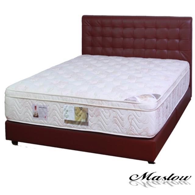 (Maslow-時尚格紋暗紅色皮製)加大床組-6尺(不含床墊)