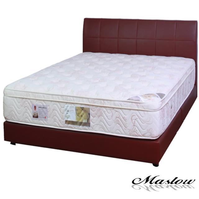 (Maslow-優質暗紅色皮製)單人床組-3.5尺(不含床墊)