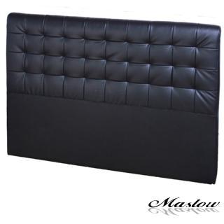(Maslow-時尚格紋皮製)雙人床頭-5尺(黑)