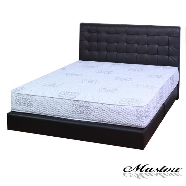 【Maslow-時尚格紋黑色皮製】加大床組-6尺(不含床墊)