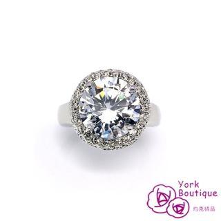 【約克精品】圓滿豪華施華洛元素晶鑽包銠金戒指(SGS認證)