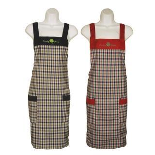幸運草格子兩口袋圍裙GS505(藍紅二入組)