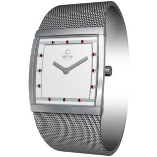 OBAKU 方型視覺晶鑽米蘭腕錶(紅鑽白/小)V102LCCMR