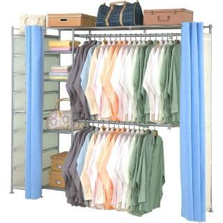 【巴塞隆納】超大收納34型防塵伸縮衣櫥(附抽屜櫃)
