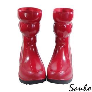 【Sanho】三和牌四季時尚長雨靴(蘋果紅)