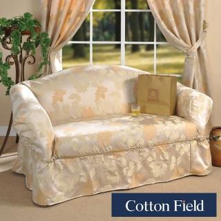 【棉花田】米蘭-緹花雙人沙發便利套-米金色