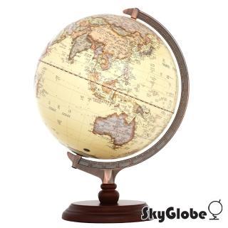 【SkyGlobe】12吋古典仿古木質地球儀(中英文對照附燈)