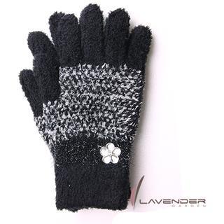 【 Lavender 】典雅晶鑽雙層手套(黑色)