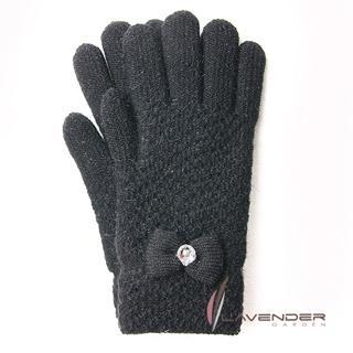 【Lavender】優雅名媛針織雙層手套(黑色)