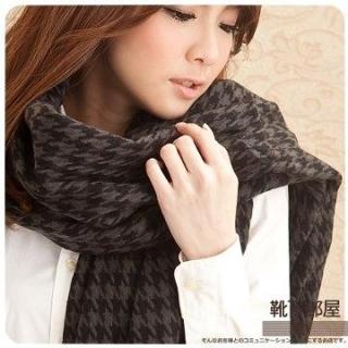 【靴下部屋】瑪麗外宿中˙千鳥格紋加大披肩圍巾(深灰/黑)