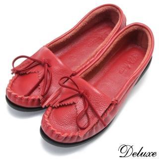 ~~Deluxe~~氣質通勤 全真皮蝴蝶結舒適簡約平底鞋^(~紅^)