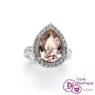 【約克精品】頂級雅緻施華洛世奇元素晶鑽包銠金戒指(SGS認證)