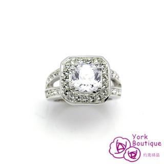 【約克精品】皇室首選施華洛元素晶鑽包銠金戒指(SGS認證)