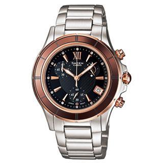 【CASIO】SHEEN系列 極光盛宴都會陶瓷晶鑽腕錶(玫瑰金 SHE-5516SG-5ADR)