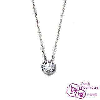 【約克精品】單顆包鑲方晶鋯石包銠金項鍊(SGS認證)