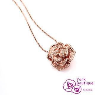 【約克精品】經典玫瑰花LOGO施華洛元素晶鑽鍍22K玫瑰金項鍊(SGS認證)