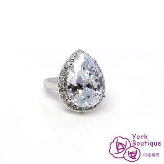 【約克精品】水美人施華洛元素晶鑽包銠金戒指(SGS認證)