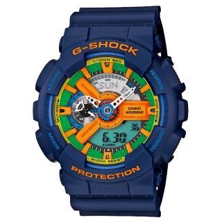 【CASIO】G-SHOCK 超重型戰機雙顯運動錶(藍 GA-110FC-2ADR)