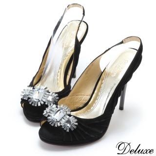 【☆Deluxe☆完美曲線-閃耀水晶寶石麂皮魚口高跟鞋★黑】