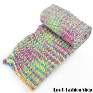 【Lus.G】韓系繽紛色彩暖呼呼毛線編織圍巾