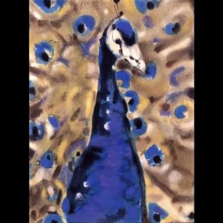 【劉其偉藝術典藏】親筆簽名限量發行石版畫(保育動物系列--孔雀)