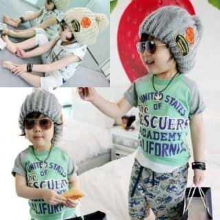 【PS Mall】最新韓版秋冬款標誌造型毛線親子帽 大球帽 兒童帽子(B015)