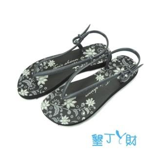 【墾丁ㄚ財】蔓藤花橡膠涼鞋(鐵灰/黑)
