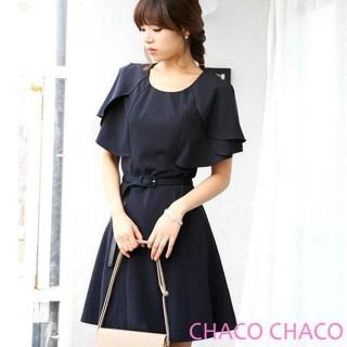 【現貨CHACO韓國】翩翩層次花瓣短袖連身洋裝+皮帶-CLCA-O-4(丈青色SML)