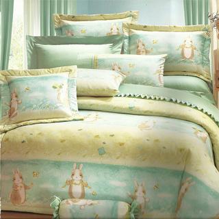 【田園兔】雙人四件式精梳棉薄床包被套組(台灣製)