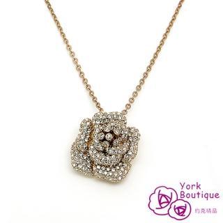 【約克精品】愛戀玫瑰施華洛元素晶鑽包18K玫瑰金項鍊(SGS認證)