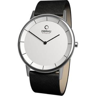 【OBAKU】纖薄哲學二針時尚腕錶(銀白V143GCIRB)