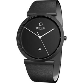 【OBAKU】刻劃時光簡約時尚腕錶(全黑V137UBBRB)