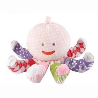 【BabyAspen】彌月禮-章魚小姐嬰兒襪組-粉(0-6m)