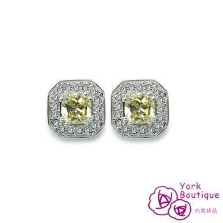 【約克精品】皇家貴婦施華洛元素晶鑽包銠金鈦金屬針式耳環(SGS認證)