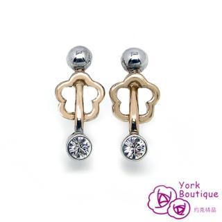 【約克精品】快樂音符方晶鋯石包銠白金鈦金屬針式耳環(SGS認證)
