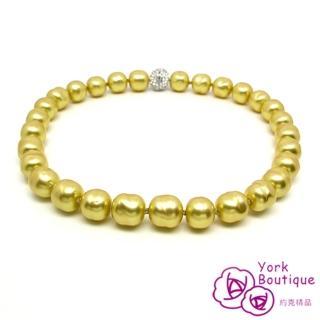 【約克精品】珠光寶氣金色琉璃珍珠包銠金項鍊(SGS認證)