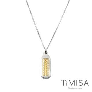 【TiMISA】永恆真愛-金-寬版 純鈦項鍊(F)