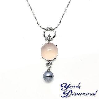【約克鑽石】幸福圓滿粉晶方晶鋯石(純銀項鍊)