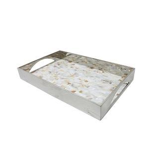 【Finara費納拉】自然奢華系-不銹鋼天然貝殼馬賽克托盤(小)